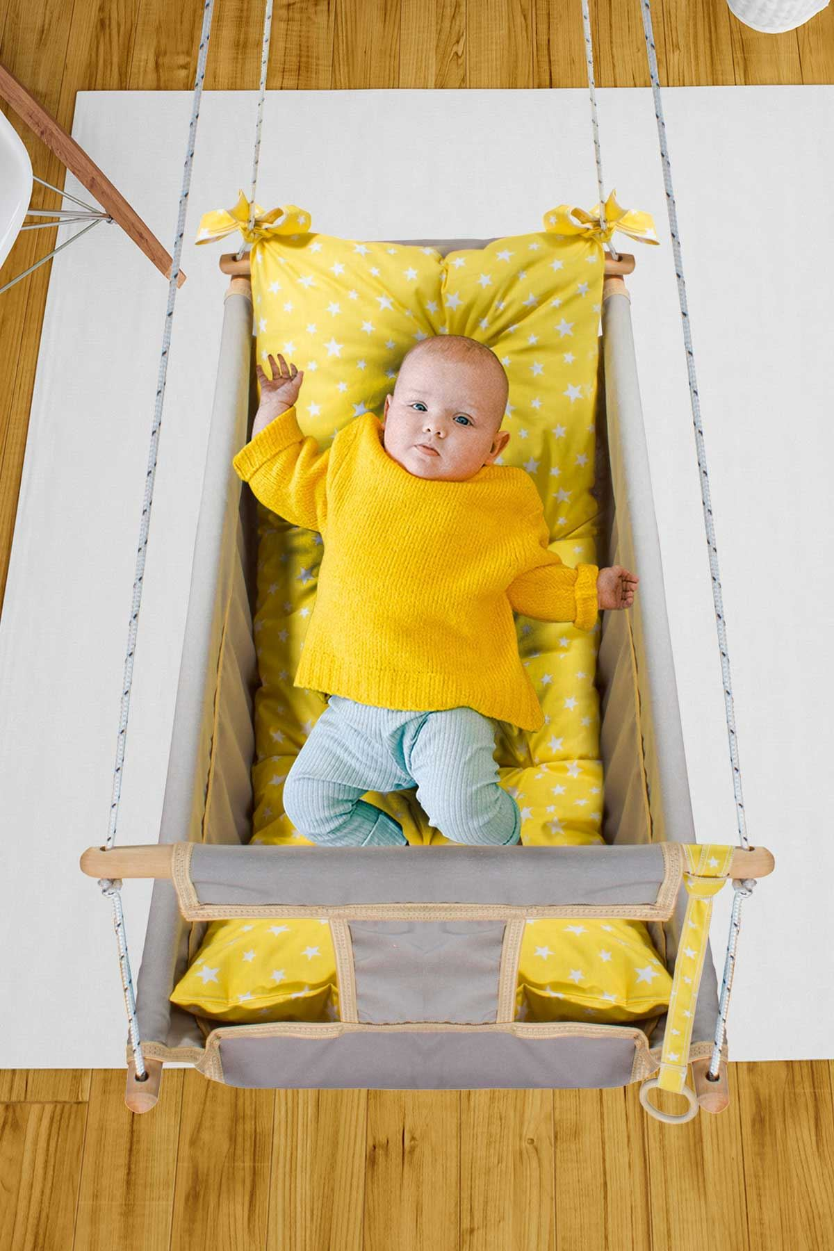 Gri Bundera Kids Bebek Uyku Salıncağı Ahşap Hamak Beşik Salıncak