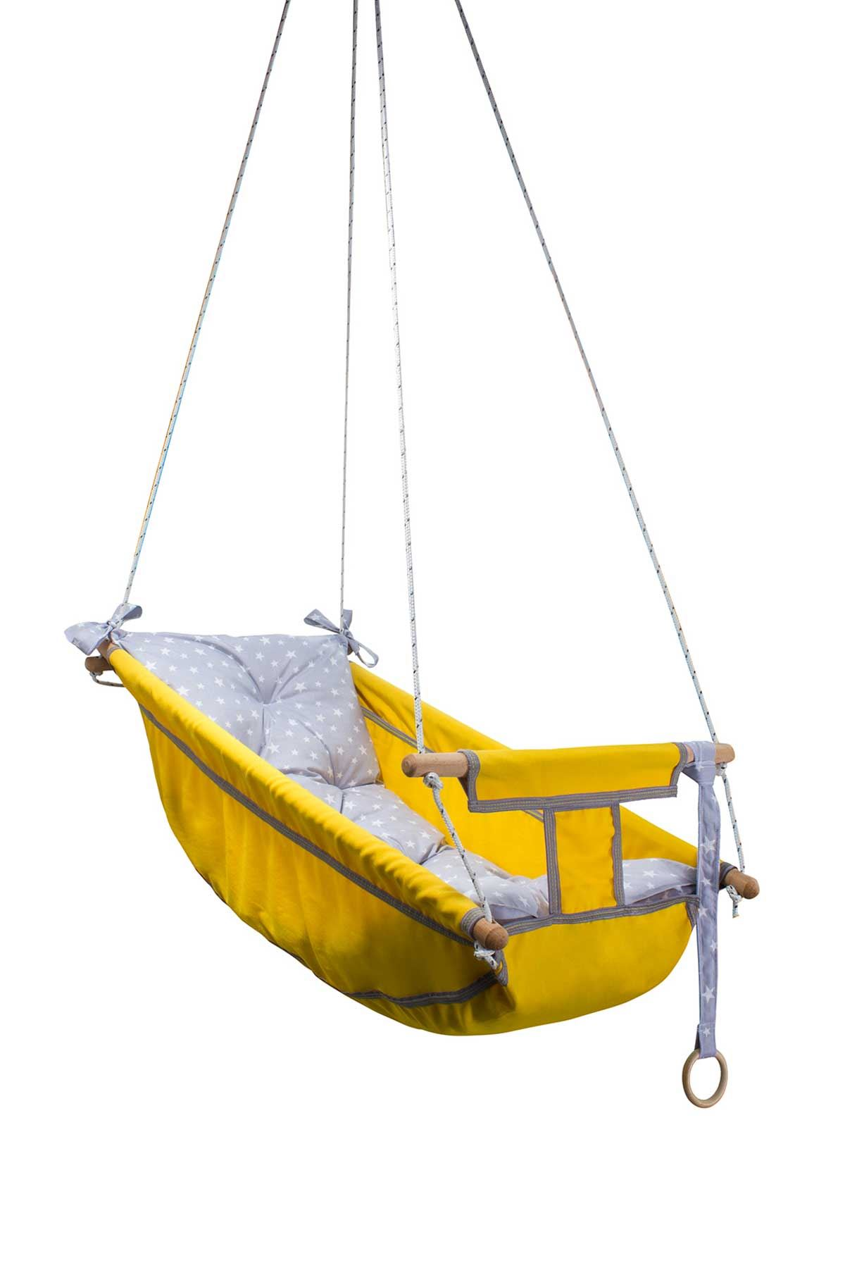 Yellow Bundera Kids Baby Sleeping Swing Wooden Hammock Cradle Swing