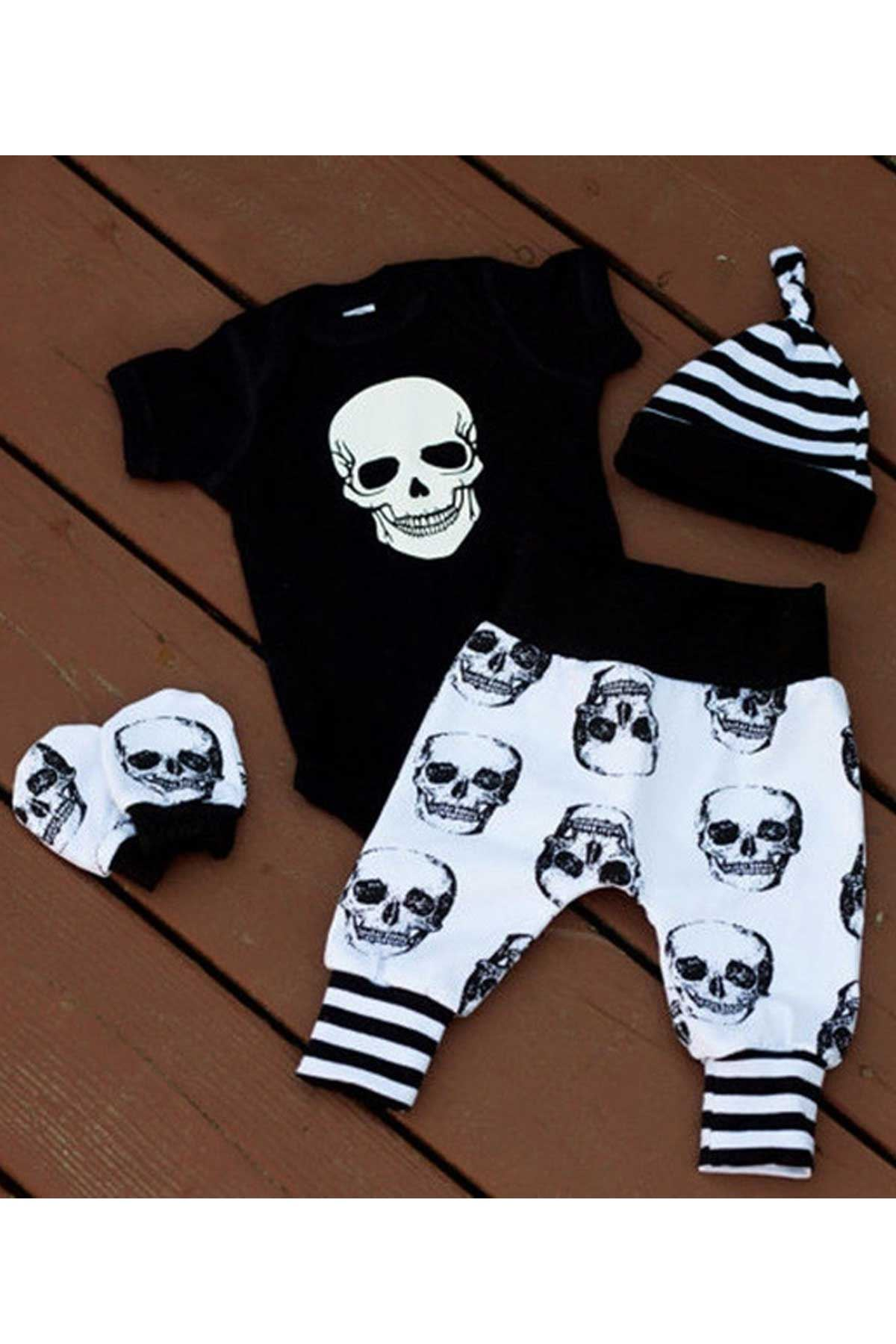 2021 Summer Baby Boy Girl Skull Clothes Romper + Long Pant Hat 4 pcs Outfit Set 0-18M Baby rompers girls boys newborn clothes