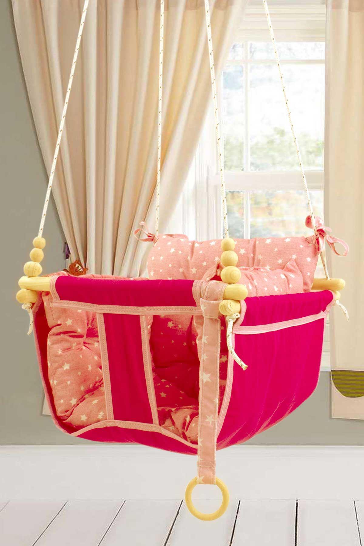 Pembe Bundera Wag Swing Çocuk Ahşap Salıncak Bebek Hamak Bahçe Salıcağı