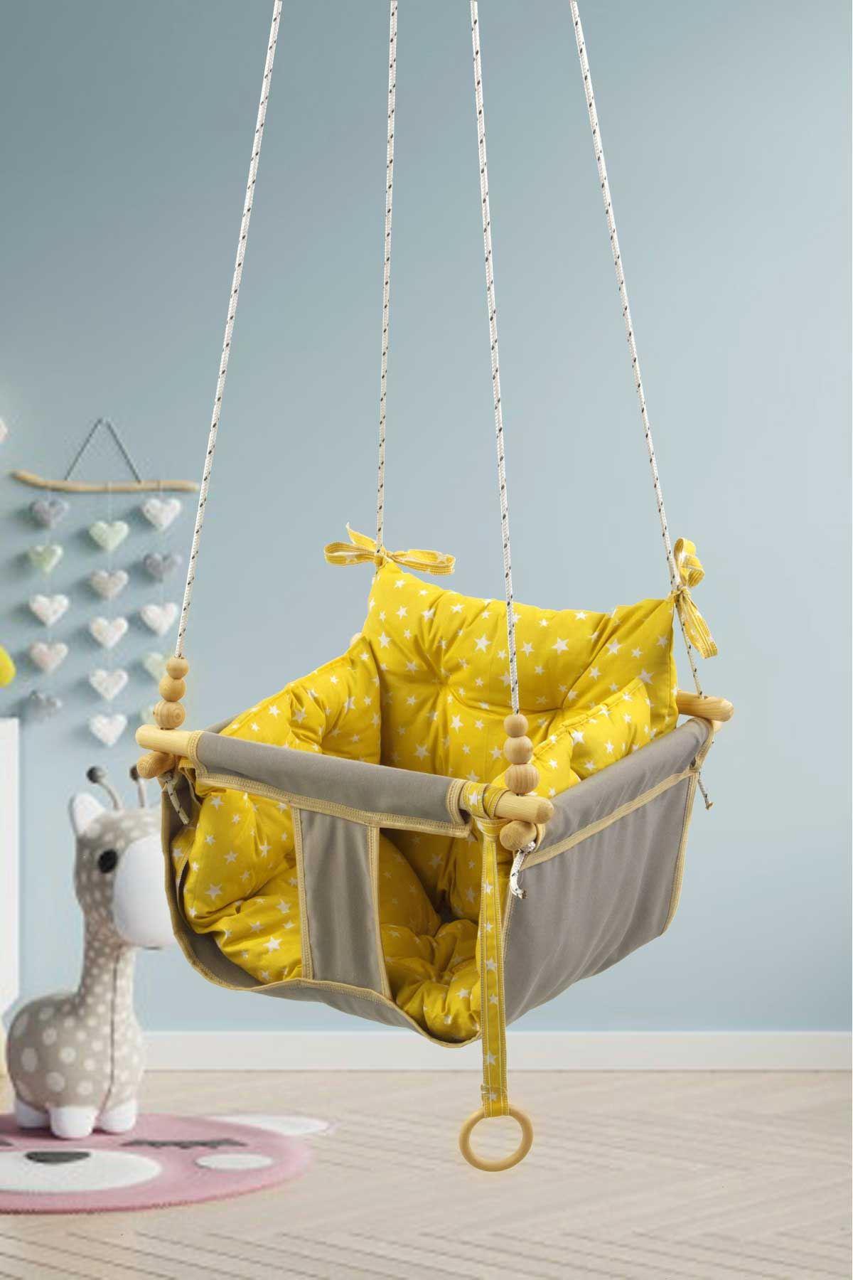 Gri Bundera Wag Swing Çocuk Ahşap Salıncak Bebek Hamak Bahçe Salıcağı