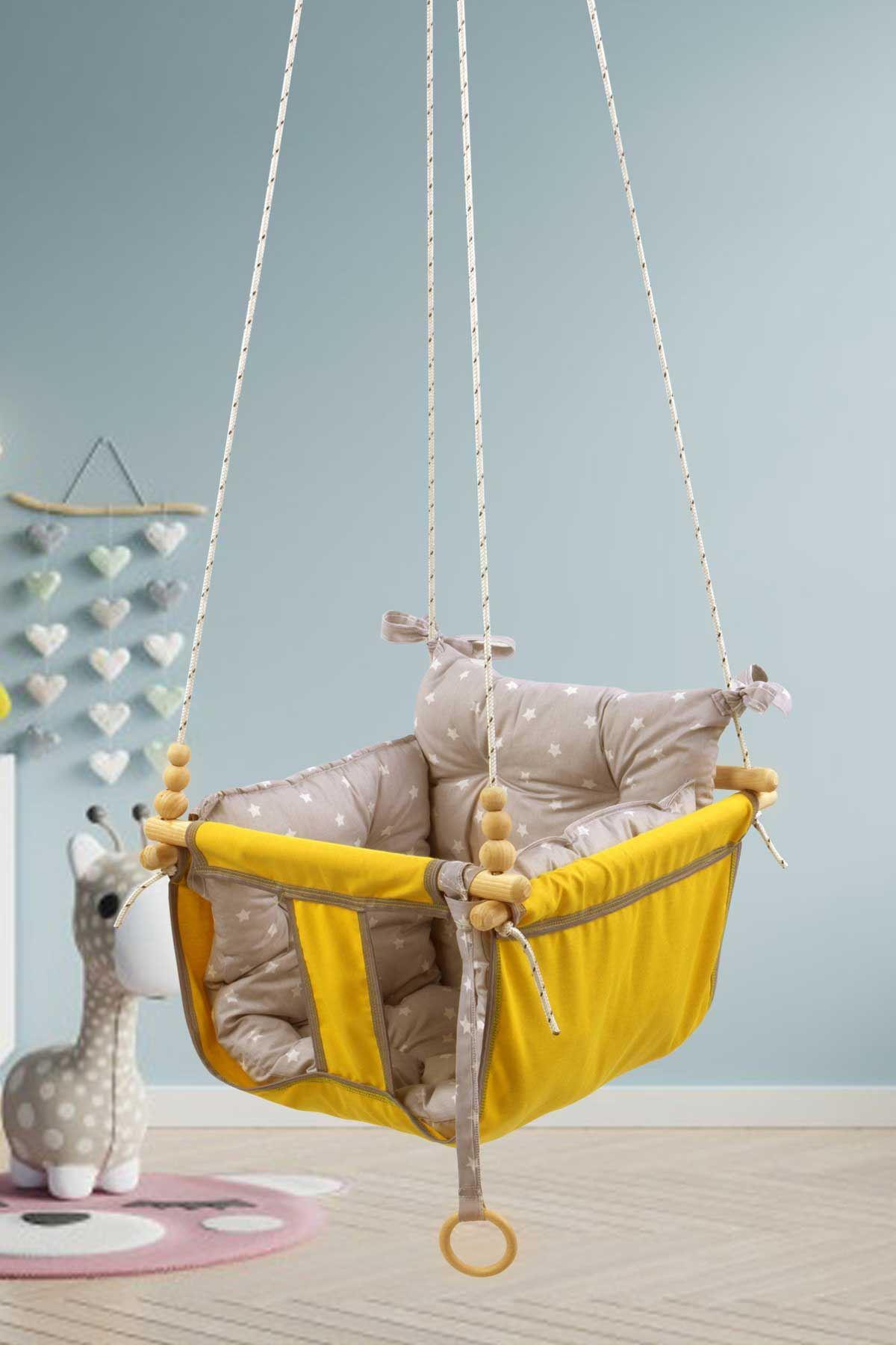 Sarı Bundera Wag Swing Çocuk Ahşap Salıncak Bebek Hamak Bahçe Salıcağı