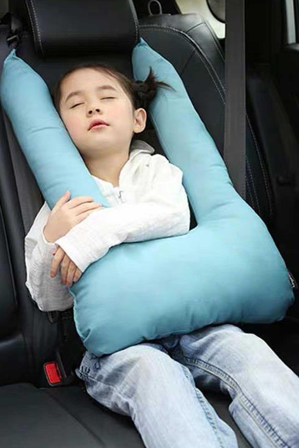 Mavi Bundera Pillow Çocuk Emniyet Kemer Yastığı Düzenleyici Oto Emniyet Kemeri Tutucu