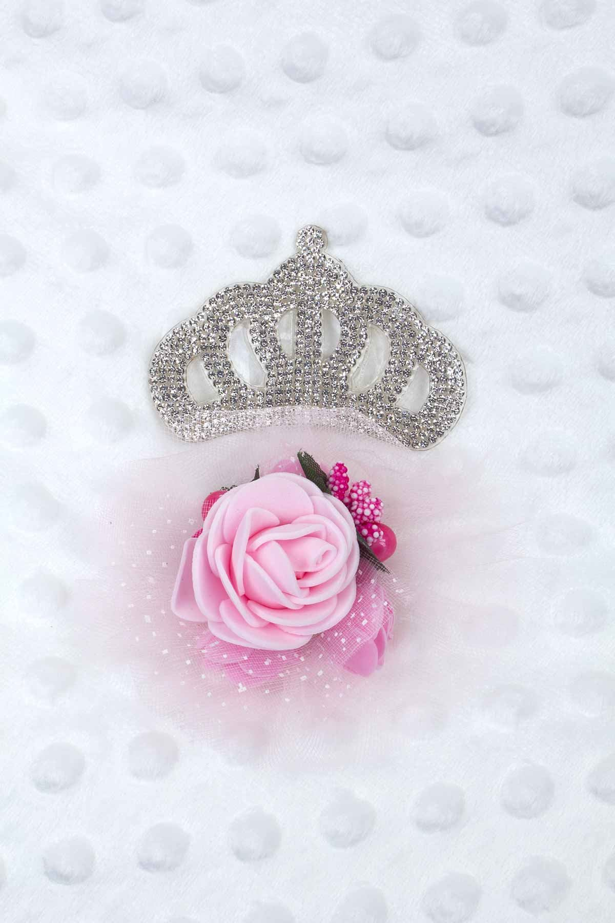Beyaz Prenses Taçlı Kız Bebek Nohut Kundak