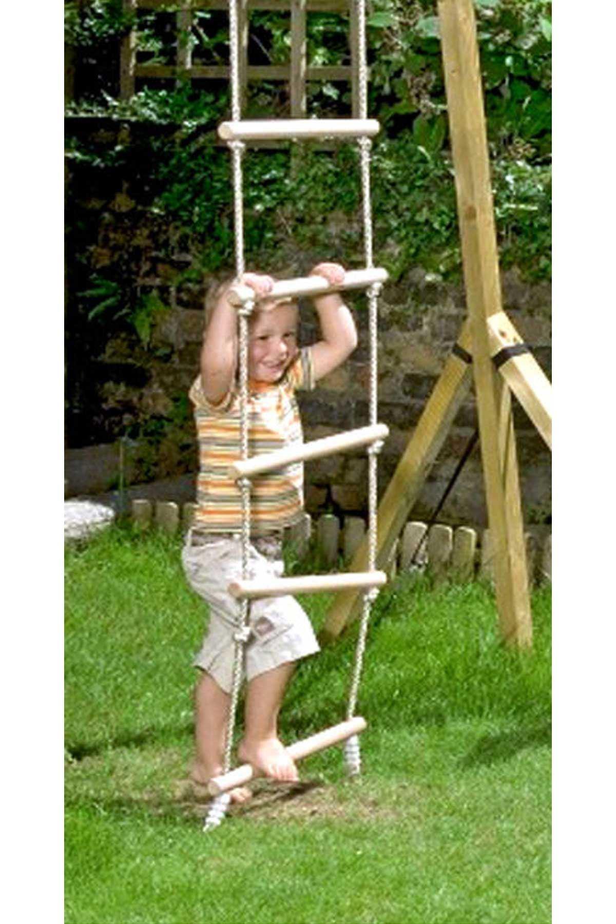 Ahşap Basamaklı İp Halatlı Tırmanma Merdiveni Katlanır Eğitici Geliştirici Çocuk Oyuncak