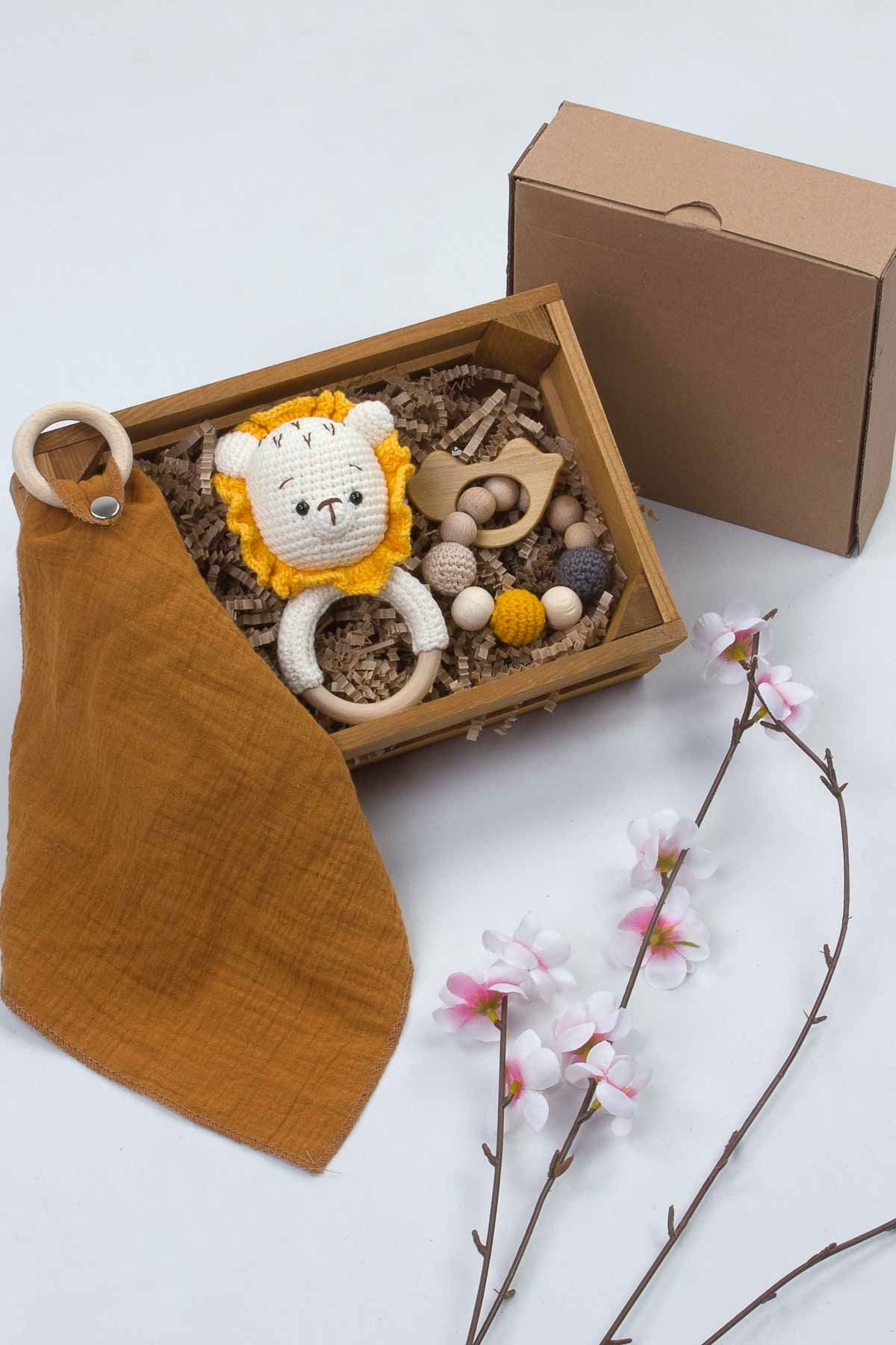 Organik El Yapımı Özel Amigurumi Oyun Halkası Ağız Mendili Bebek 3 lü Hediye Seti