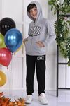 Gray Seasonal Hooded Male Child 2 pcs Suit