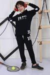 Siyah Mevsimlik Kapüşonlu Erkek Çocuk 2 li Takım