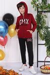 Burgundy Seasonal Hooded Male Child 2 pcs Suit