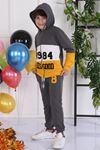Sarı Mevsimlik Kapüşonlu Erkek Çocuk 2 li Takım